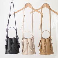 Vintage Ruched Drawstring Bucket Bag for Women Designer Handbags Luxury Pu Leather Shoulder Crossbody Bags Lady Composite Purses