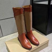 حار بيع-جديد أزياء الخريف الشتاء أحذية امرأة جلدية الركبة عالية فارس الأحذية المعادن مشبك جولة الكعب المرأة الأحذية SH02 PB01