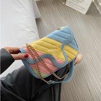 مصمم الاطفال rainbow حقيبة يد الفتيات سلسلة المعادن crossbody أكياس الأطفال إلكتروني أبازيم واحدة الكتف حقيبة الفاخرة فتاة محفظة a5623
