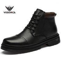 Botas vosonca homens vintage estilo vintage sapatos casuais moda pelúcia alta pelúcia manter sapatos quentes1