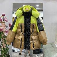 겨울 코트 여성 방수 광택 후드 90 % 하얀 오리 아래로 재킷 두꺼운 따뜻한 느슨한 파카 조절 허리 여성 코트 Y201026