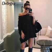 Darlingaga Streetwear Kara Delik Uzun Kazak Kadınlar Rahat Boy Hoodie Kazak Sonbahar Kış Tişörtü Elbise Giysileri