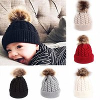 Fur Winter Warm Baby Hat Pompom Knitted Baby Girls Boys Hat Cap Infant Toddler Kids Hat Beanie Kids Children Caps Bonnet