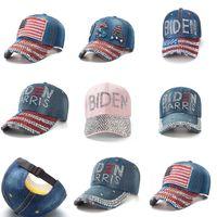 8 colores Rhinestone Biden Béisbol sombrero de béisbol ajustable bolas de mezclilla Snapbacks Diamond Biden Harris USA Flag Vaquero Visor Deporte Headweare111802