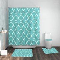 Alfombrillas de baño impresas modernas y conjuntos de cortina de ducha Cuarto de baño sin deslizamiento alfombras lavables Aseo de baño con cortina de baño a prueba de agua1