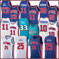 Derrick 25 Rose Isiah 11 Thomas Dennis 10 Rodman Grant 33 Hill DetroitPistón 2020 2021 NUEVO Jersey de baloncesto Brown Men's