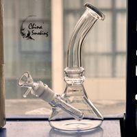 """8"""" bicchiere di vetro bong 5 millimetri tubo dell'acqua di spessore con bicchiere stelo + vetro ciotola 18mm piattaforme petrolifere femminili"""