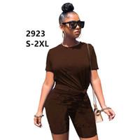 PLUS Taille 2x Vêtements d'été Femmes Brown Shorts Deux pièces Ensemble Lettre Sportswear T-shirt à manches courtes Pantalons courts Casual Jogger costume 2923