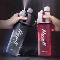 Nangufang / tritan 600ml Распылитель пластиковые бутылки с водой прохладный летний спортивный фитнес чайник портативный путешествие открытый увлажняющий чайник 201114