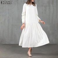 Abiti casual Vintage Zanzea 2021 Donne Autunno Autunno Manica Piena Colore solido Ruffles Sundress Baggy Robe Plus Size Vestidos Kaftan