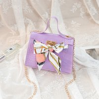 2020 neue Dame-Beutel-Krokodil-Muster Seidenschal Schulter-Beutel PU Fashion Diagonal Bag kleine quadratische Tasche Handy-Geldbörse