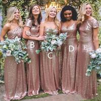 Платья подружки невесты Простые дизайны Bling Rose Gold Сдержанное платье Длинные сексуальные Длина пола Boho Plus Размер на заказ