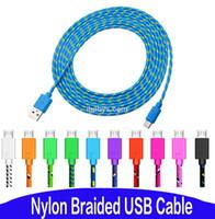 Нейлон плетеный Micro USB-кабельный кабельный кабельный зарядной зарядное устройство кабели зарядное шнур Android для Samsung HTC LG Huawei Xiaomi Android телефонных кабелей
