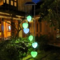 Nuevo 40mAh Solar Intelligent Light Control Love Style Wind Chime Corredor Decoración Colgante 6 F5 Lámpara Beads Panel solar Luz colorida negra