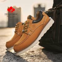 Decarsdz hakiki deri ayakkabı adam yeni yüksek kaliteli inek deri rahat laceup erkekler rahat ayakkabılar ofis erkekler ayakkabı boyutu LJ201202