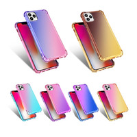 TPU + PC Gradient Dual Color Transparent Stoßdichtes Telefonkasten für iPhone 12 11 Pro XS MAX X XR 7 8 Plus