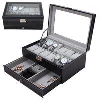 Cajas de relojes Cajas Profesionales 12 Rejillas Slots Relojes Caja de almacenamiento PU Cuero Doble Capas de joyería Holder Black Brown Ataket 20211