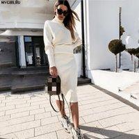 Kadın Eşofman MVGIRLRU Kostüm Örgü Etek Suit Yarasa Kol Kazak + Ince İki Parçalı Set