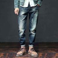 Мужские джинсы моды гарема мужские повседневные джинсовые брюки упругая талия хип-хоп брюки плюс размер протягиванные бегуры мужские одежда