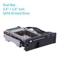 """듀얼 베이 USB 3.0 포트 SATA III 하드 드라이브 HDD SSD 트레이 캐디 내부 모바일 랙 인클로저 도킹 스테이션 3.5 """"+ 2.5""""인치"""