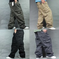 Geniş Bacak Hip Hop Pantolon Erkekler Rahat Pamuk Harem Kargo Pantolon Gevşek Baggy Pantolon Streetwear Artı Boyutu Joggers Erkekler Giyim J1218