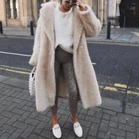 Donne inverno Cappotto lungo Cappotto Bianco FAUX Pelliccia di Pelliccia Soprabito caldo Ladies Giacca di pelliccia Femminile Peluche Giro giù Collar High Street Outwear Elegante