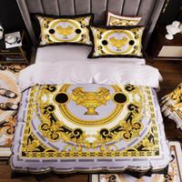 الراقية الفرنسية إيطاليا تصميم نمط الأصفر طباعة 4 قطع الملك الملكة حجم لحاف الأبيض الأزرق الذهب ورقة السرير الفراش الفاخرة T200826