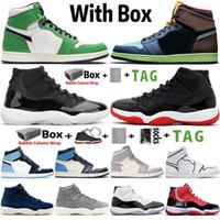 2021 Jumpman Alto 1 1S Lucky Green Light Fumo Cinzento Mens Basquetebol Sapatos 11 11s 25º Aniversário Concord 45 Treinadores Retro Sports Sneakers