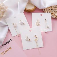 Stud Moda Estrellas Pendientes Personalidad Luna Pearl Shells Planet Asymmetric Jewelry Accesorios