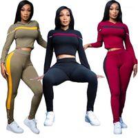 Chevaliers pour femmes RMSFE 2021 Casual Tenues de sport quotidiennes Capuche Patchwork Shinny 2 pièces Ensemble Femme Full Sleeve Top Pantal Sets1