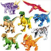 8 unids / set colorido jurásico mundo dinosaurio brutal rapaz minifig figuras ejército compatible construcción bloques mini ladrillos dino coche ciudad niño juguetes