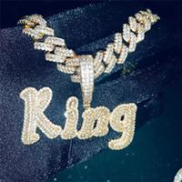 Hip Hop benutzerdefinierte Name Kubikzircon ausgefrorene Buchstaben Kette Anhänger Halsketten für Männer Schmuck Kubanische Kette