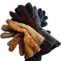 قفازات الشتاء النساء 2020 أزياء متعدد الألوان النقي الغنم جلد طبيعي الكشمير الفراء الدافئة السيدات كامل فنجر قفاز القفاز LJ201215