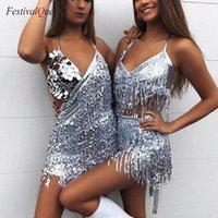 Festivalqueen Glänzende Halfter Minikleid Pailletten Fransen Quaste Vergoldung Bühnenleistung Backless Latin Dance Dress Für Frauen1