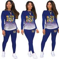Женские черные девушки рок буквы трексуита дизайнер градиент цвет пуловер топы брюки леггинсы костюм две части наряды одежды F111804