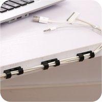 Clip de soporte de administración del cable con plásticos adhesivos 3 Color Cable Cable Abrazaderas Organizador Línea de datos Clips FIT Home Office School 1 57QH E1