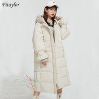 Фитейлор зима с капюшоном в рукаве длинные куртки женщин 90% белый утка вниз пальто свободного кармана молнии пальто новый теплый снег