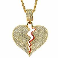 Großhandel beliebte design volle cz zirkonia gebrochene herz halskette vergoldet hiphop schmuck halskette 24inch