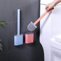 실리콘 WC 화장실 브러시 벽 장착 플랫 헤드 퀵 건조 홀더가있는 유연한 부드러운 브러시 브러시 욕실 액세서리에 대 한 세트