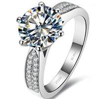 Безопасный тест-положительный 2CT 8 мм D-E Lab-Crown Moissanite алмазное кольцо стерлингового серебра 925 Стерлинговое серебро
