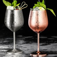 520ml Stainless Steel Red Wine Glass Silver Rose Gold Goblets Juice Drink Champagne Goblet Party Barware Kitchen Tools
