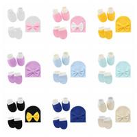 Conjunto de tapa bebé Bebé Guantes infantiles Cubierta de pie Newborn Socks Sets Sombrero de lazo Sombrero Conjunto de regalo 3 piezas Conjuntos de regalo para niños YL224