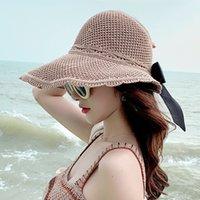 우아한 접이식 태양 모자 여성을위한 넓은 가장자리가 조정 가능한 여름 여름 솜브레로 숙녀 비치 UA 짚바이가 낚시 캡
