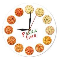 壁掛け時計イタリアドリームキッチン家の装飾ナポリスタイルイタリアンアートガストロノームギフト異なる味のピザ時間モダンクロック