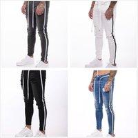 أزياء رجالي رقيقة جينز نحيل طويل سروال رصاص وشريط الجانب جينز سليم ذكر الهيب هوب بنطلون الأوروبي بالاضافة الى حجم 4XL