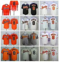 Hommes Vintage Baseball 8 Cal Ripken JR Jersey Retrey 1954 1970 1982 1989 2001 FLEXBASE COOL BASE PULLOVER ÉQUIPE NOIR Orange Blanc Gris