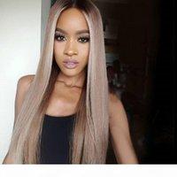 Vergine Brasiliano Straight Ombre Full Pizzo Parrucche I capelli umani Glueless Due tono Colore Colore Parrucca anteriore in pizzo # 1b 18 colori per le donne nere
