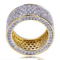 Hip Hop Jewelry Mens Gold Ring Iced Out Anillos Micro Pave Cubic Zircon Promise Diamond Finger Anillos de Diamond Diseñador de Lujo Peligrafía Regalo