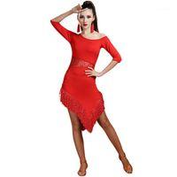 Stage Wear Latin Dance Costume Costume Tassel Dress Ballroom Competition Suit Adulto femmina1