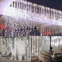 Entrega gratuita 15m x 3m 1500-LED luz branca quente romântico casamento casamento decoração ao ar livre cortina corda luz EUA Normal Quente branco
